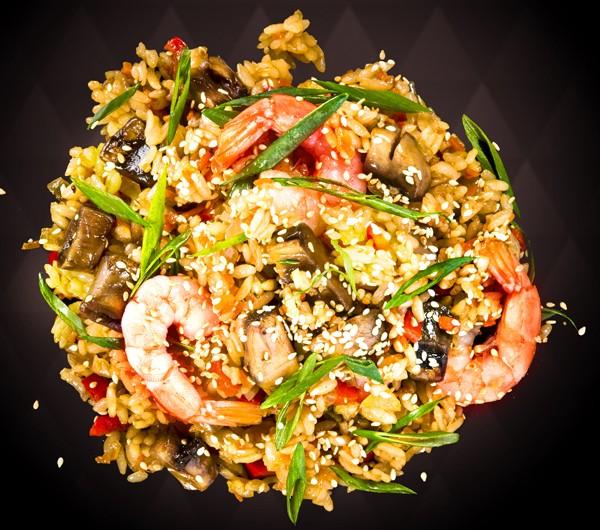 заказать: Вок - Тяхан с морепродуктами и тигровой креветкой