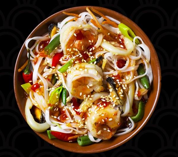 заказать: WOK - Морепродукты с рисовой лапшой и овощами