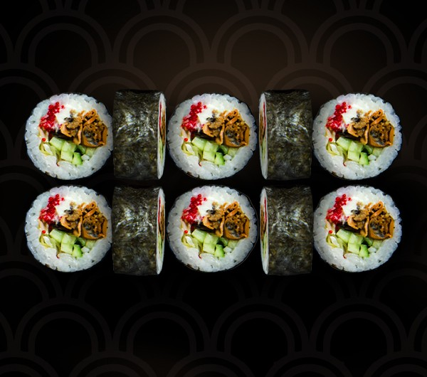 заказать: Роллы - Футомаки с мидией и икрой тобико